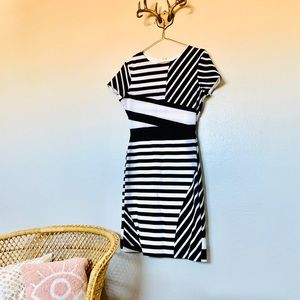 Adorable flattering black and white dress!